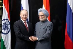Russian President Vladimir Putin and Indian Prime Minister Manmohan Singh. [AP]