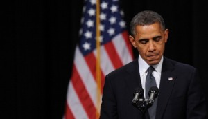 Obama at the memorial service for victims of the Sandy Hook shootings. [Getty Images]
