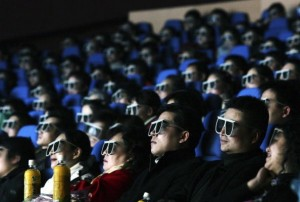 Audience members watch a 3D movie in China. [Getty Images]