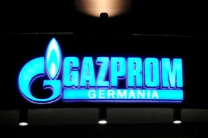 The logo of Russian energy company Gazprom at their headquarters in the eurozone country of Germany. [AP]