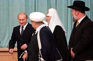 President Putin and religious leaders. [AP]