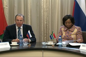 Lavrov, left, discussed with his South African counterpart the security situation in Africa last week [MFA Russia]