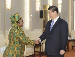 Nkosazana Dlamini Zuma, AU chairperson meets Xi Jinping at the Great Hall of the People in Beijing, Sunday. (Xinhua)