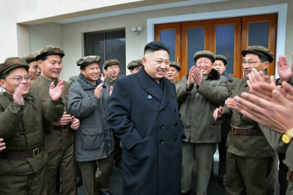 Can't we all just share a good laugh? North Korean hackers found the film parodying Kim Jong-Un, seen in this picture visiting an army barracks, offensive [Xinhua]