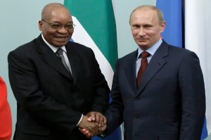 Zuma, left, has made increased BRICS trade a priority [AP]