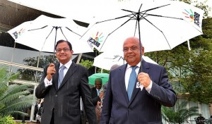 The Indian Finance minister(left) seen here with his South African counterpart Pravin Gordhan, finalising details of the BRICS Bank in Durban in March 2013 [AP]