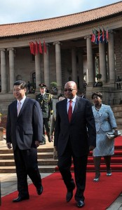 Xi and his wife received a 21-gun salute at the seat of government in Pretoria [GCIS]
