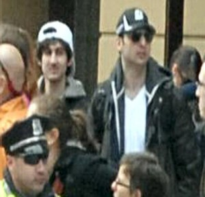 Still image released by the FBI of suspects allegedly involved in the Boston bombings