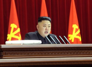 Kim Jong Un addressing the central committee of the ruling Workers' Party in Pyongyang [North Korean Central News Agency]