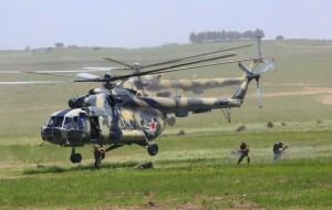 A Russian combat helicopter during military exercises with China [Xinhua]
