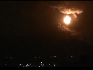 Screen capture from amateur video distributed online shows an explosion near Damascus airport
