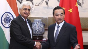 Salman Khurshid (left) and his Chinese counterpart Wang Yi [Xinhua]
