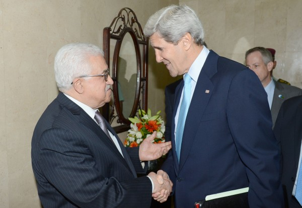 Kerry, right, and Abbas, left, canceled a meeting earlier this week [Xinhua]