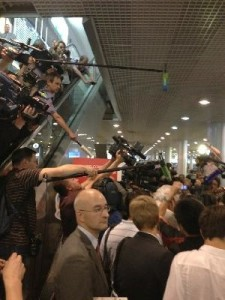 At least 200 journalists descended on the transit area of Moscow's Sheremetyevo Airport to interview officials who met with Snowden [TBP]