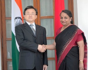 India's new Foreign Secretary Sujatha Singh met China's Vice Foreign Minister Liu Zhenmin for talks on bilateral, regional and global issues of mutual interest [Image Courtesy: Ministry of External Affairs India]