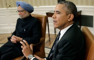 Obama, right, praised Singh for his efforts to improve ties with Pakistan [Getty Images}