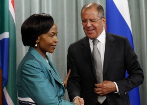 Lavrov, right, thanked South Africa for its support during Moscow's G20 presidency [AP]