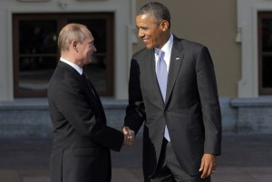 "Putin, left, met with Obama at the G20 last week, and says trust between them is ""growing"" [AP]"