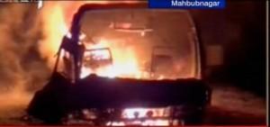 TV grab of the burning bus in Mahbubnagar, AP.