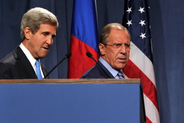 Kerry, left, and Lavrov agreed to deescalate tensions by disbanding pro-Russian militia and protecting ethnic Russian rights [Getty Images]
