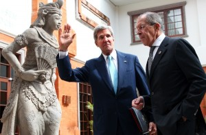 Russian and American top diplomats Sergey Lavrov and John Kerry met in Bali on the sidelines of the APEC summit [AP]
