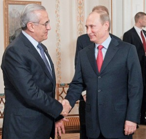 Russian President Vladimir Putin, right, and Lebanese President Michel Suleiman in Moscow in January 2013 [AP]