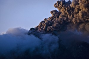Authorities ordered 15,000 people evacuated as Mount Sinabong erupted in northern Sumatra, Indonesia on Sunday [Getty Images]