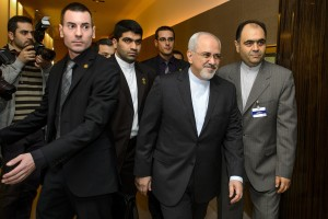 Iranian Foreign Minister Mohammad Javad Zarif, second from right, said that Iran would halt production of nuclear fuel at Arak [AP]