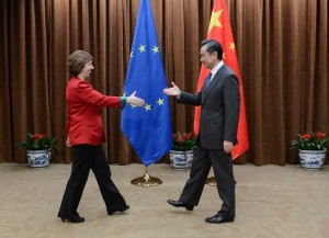 File photo of European Union Foreign Policy Chief Catherine Ashton (L) and Chinese Foreign Minister Wang Yi [Getty Images]
