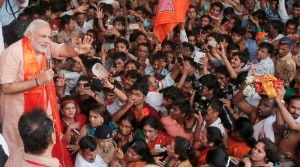Indian Prime Ministerial hopeful Narendra Modi addresses a rally amid tight security [AP Images]