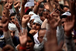 Thousands of Indians took to the streets to push for strong anti-graft legislation [AP]