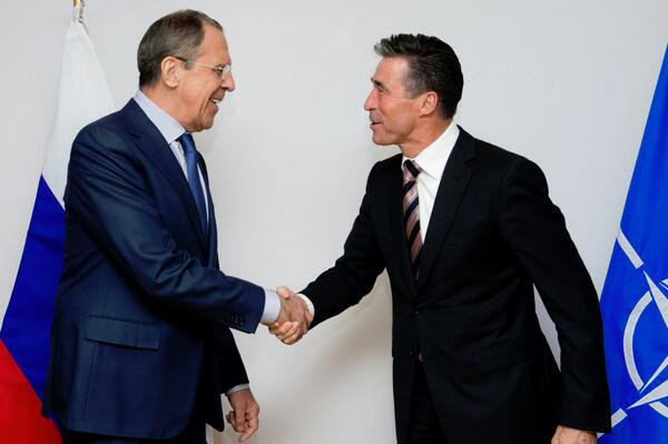 Russia's Foreign Minister Sergei Lavrov met NATO Secretary General Anders Fogh Rasmussen on Tuesday in Brussels [Image courtesy: MFA, Russia]