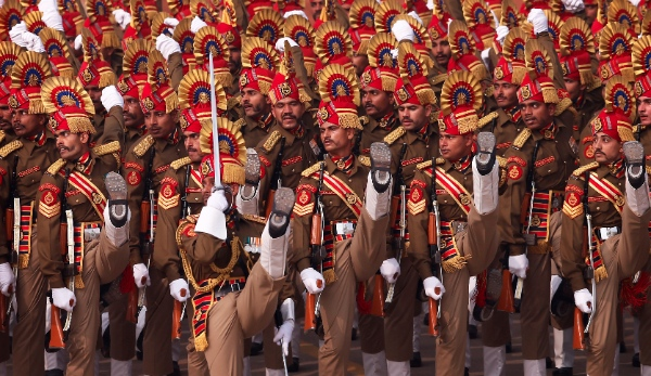 Indian Border Security Force soldiers march during the Republic Day parade in New Delhi, India, Sunday, Jan. 26, 2014 [AP]