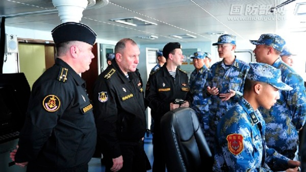 A Russian-Chinese naval training exercise in the Mediterranean Sea began on Saturday [Image Courtesy: Defence Ministry, China]