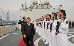 Chinese Ambassador to Cyprus Liu Xinsheng and Cypriot Defence Minister Fotis Fotiou oversaw the arrival of the Chinese warship Yancheng [Xinhua]
