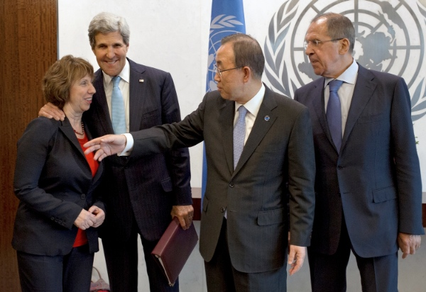 File photo of EU Foreign Policy Chief Chief Catherine Ashton, US Secretary of State John Kerry, UN Chief Ban Ki-Moon and Russian Foreign Minister Sergey Lavrov [AP]