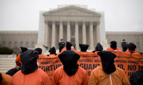 File photo of a protest against Guantánamo Bay in front of the US supreme court in Washington [AP]