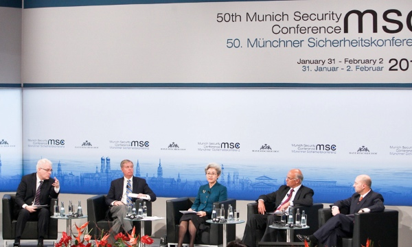 Fu Ying (C), Chairperson of the Foreign Affairs Committee of China's National People's Congress, attends a meeting session of the Munich Security Conference in Munich, Germany, on Feb. 1, 2014 [Xinhua]