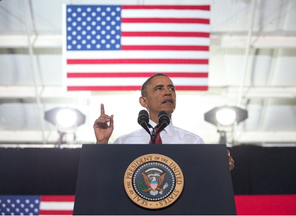 President Barack Obama speaks about the economy, jobs, and manufacturing at North Carolina State University, Wednesday, Jan. 15, 2014, in Raleigh, N.C. [AP]