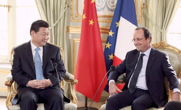 "Hollande welcomed the Chinese investment in his country saying, ""Eighteen billion euros of contracts -- that is jobs, growth and, most of all, significant prospects for the coming years"" [Xinhua]"