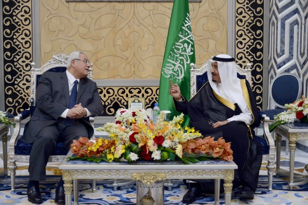 Egyptian interim President Adli Mansour visiting Saudi Arabia's Crown Prince in October 2013 [Xinhua]