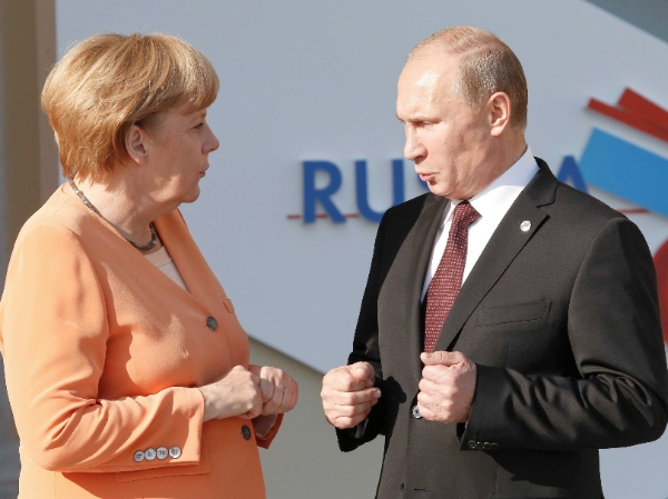 Merkel stressed that so far, only plans for the G8 summit in Sochi are being suspended [AP]