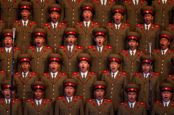 A North Korean choir sings during a concert in Pyongyang on Monday April 16, 2012 to commemorate 100 years since the birth of Kim Il Sung [AP]