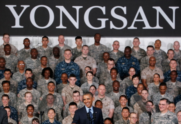 President Barack Obama addresses U.S. military personnel at Yongsan Army Garrison in Seoul, South Korea, Saturday, April 26, 2014 [AP]
