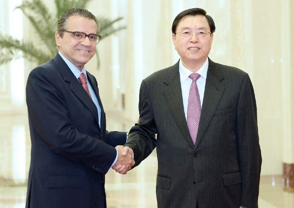 The head of China's parliament, Zhang Dejiang held talks with visiting Head of Brazil's lower house of Parliament, Henrique Eduardo Alves in Beijing on Monday [Xinhua]