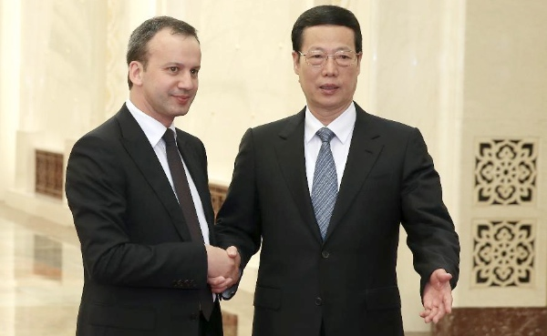 Chinese Vice Premier Zhang Gaoli (R),  and Arkady Dvorkovich, Russian Deputy Prime Minister  hold a meeting in Beijing, capital of China, April 9, 2014 [Xinhua]