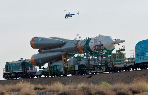 In this Sunday, June 5, 2011 file photo, the Russian Soyuz TMA-02M space ship that will carry new crew to the International Space Station, ISS, is transported from hangar to the launch pad at the Russian leased Baikonur cosmodrome, Kazakhstan [AP]