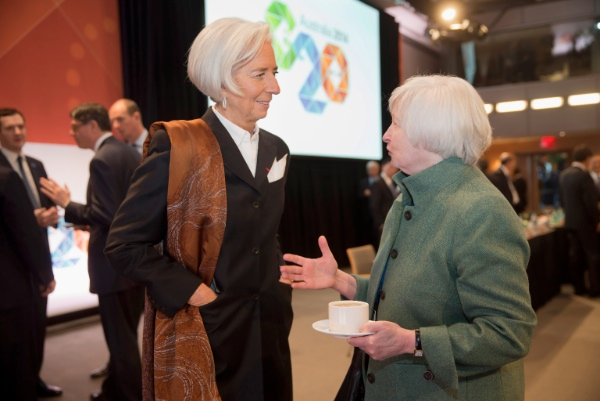 This handout photo provided by the International Monetary Fund (IMF) shows IMF Managing Director Christine Lagarde, left, talking with Federal Reserve Chair Janet Yellen prior to the G20 meeting at the IMF/World Bank Spring Meetings, Friday, April 11, 2014, at IMF Headquarters in Washington [AP]