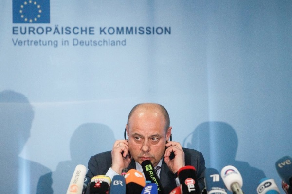 Ukrainian Energy Minister Yuri Prodan attends a press conference after a trilateral talks in Berlin, Germany, May 30, 2014 [Xinhua]