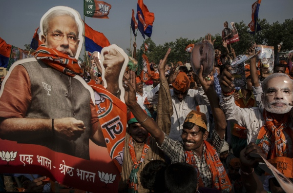 "The BJP, led by Narendra Modi, mounted an aggressive campaign against what they charged was ""non-governance"" of the ruling party [Getty Images]"
